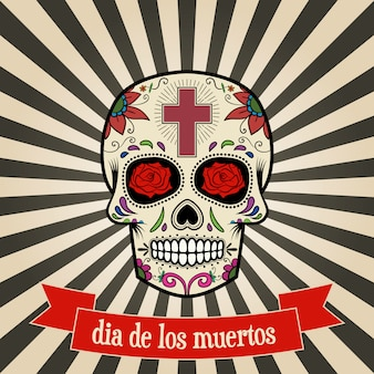 Dzień śmierci. dia de los muertos. cukrowa czaszka na rocznika tle z sztandarem.