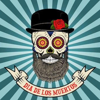 Dzień śmierci. dia de los muertos. cukrowa czaszka z brodą i kapeluszem na rocznika tle z sztandarem.