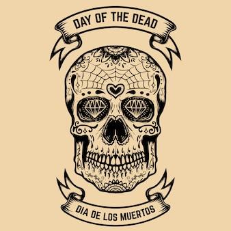 Dzień śmierci. dia de los muertos. cukrowa czaszka z kwiatowym wzorem. element plakatu, karty z pozdrowieniami. ilustracja