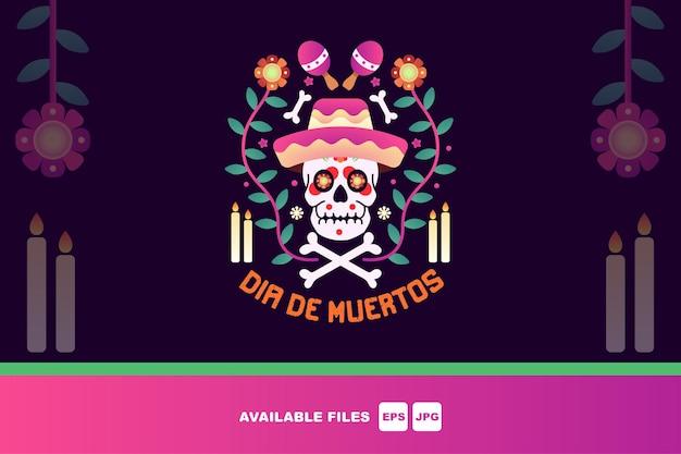 Dzień śmierci, dia de los muertos, zestaw ilustracji wektorowych płaski. cukrowe meksykańskie czaszki,