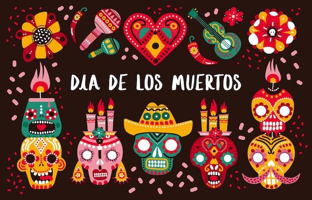 Dzień śmierci. ozdobne czaszki, gitara i świece oraz ostra papryka, serduszko i kwiaty. meksykańska dia de los muertos