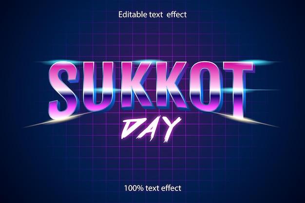 Dzień sukkot edytowalny efekt tekstowy w stylu retro z neonem