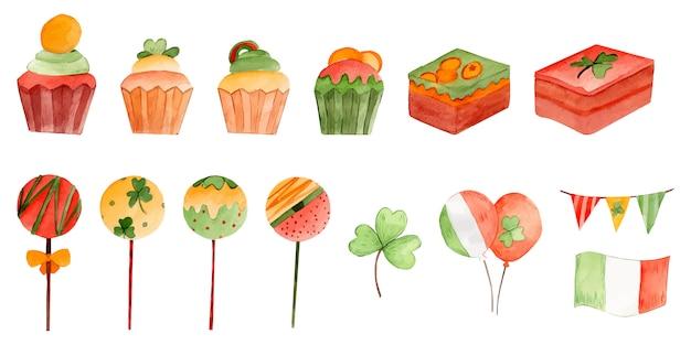 Dzień świętego patryka desery akwarela ilustracja grupy