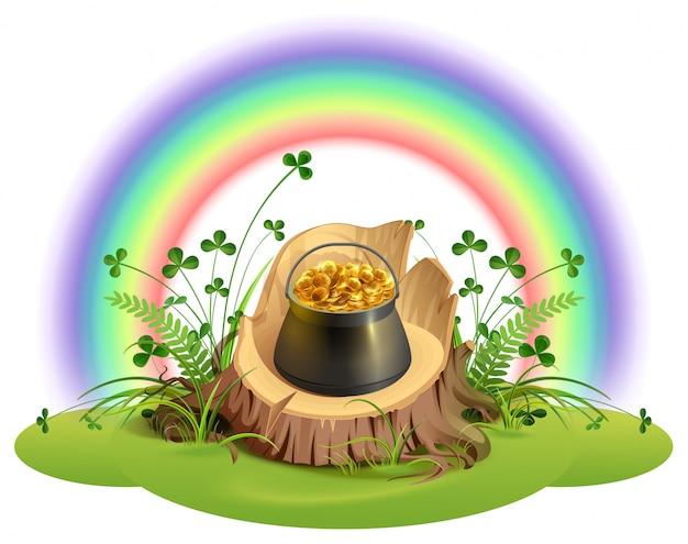Dzień świętego patryka. garnek złotych monet na pniu pod tęczą