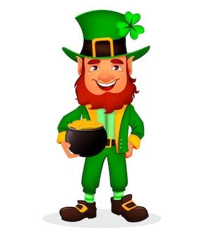 Dzień świętego patryka. ładny zabawny charakter kreskówka leprechaun trzyma garnek ze złotem