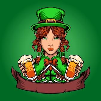 Dzień świętego patryka leprechaun woman