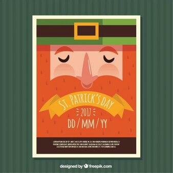 Dzień świętego patryka plakat z płaskiej krasnoludek