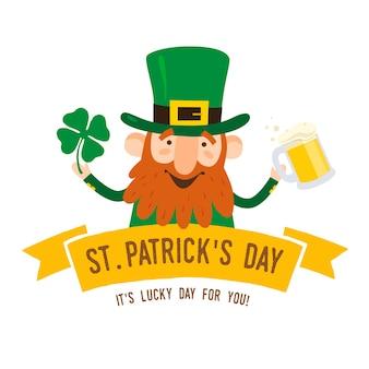Dzień świętego patryka. śmieszny leprechaun z liści koniczyny i kuflem piwa na jasnym tle. ilustracja.