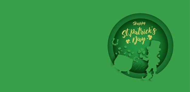 Dzień świętego patryka. sylwetka leprechaun i garnek złota.