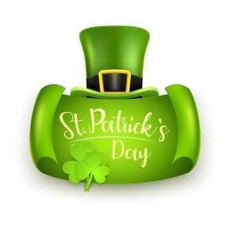 Dzień świętego patryka z kapeluszem i koniczyną leprechauns