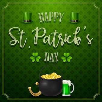 Dzień świętego patryka ze złotymi monetami i piwem