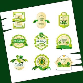 Dzień świętego patryka zestaw odznak lub etykiet