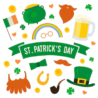 Dzień świętego patryka. zestaw tradycyjnych elementów: kapelusz, garnek złota, fajka, flaga irlandii, podkowa, koniczyna, broda, wąsy, kufel piwa.