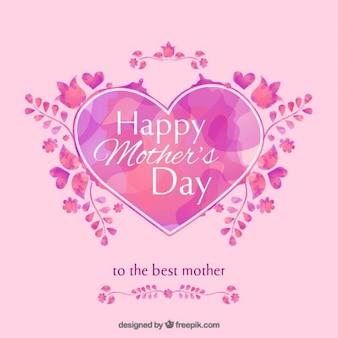 Dzień tła akwarele ręcznie malowane kształt serca matki