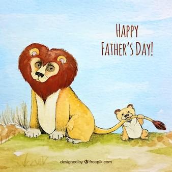 Dzień tło akwarela ojca z lwami