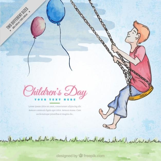 Dzień tło inspirujących akwarele dla dzieci