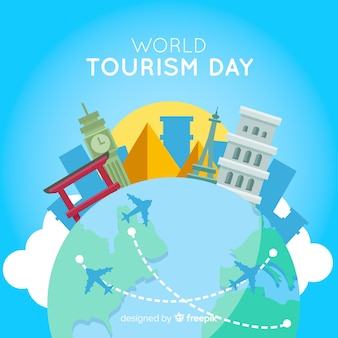 Dzień turystyki płaska konstrukcja z zabytków