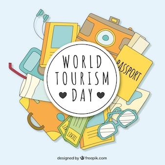 Dzień turystyki światowej, rysowane ręcznie elementy