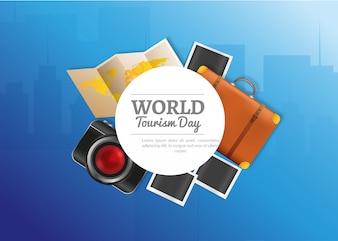 Dzień turystyki światowej z realistycznymi elementami