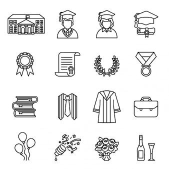 Dzień ukończenia studiów. zestaw ikon szkolnictwa wyższego i uniwersyteckiego.