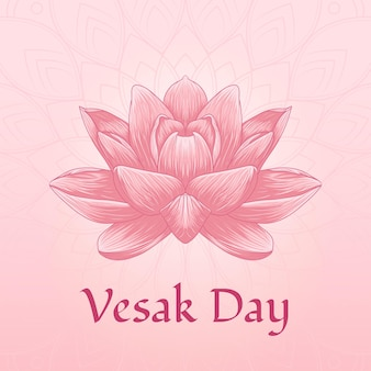 Dzień vesak z ilustracją kwiat lotosu