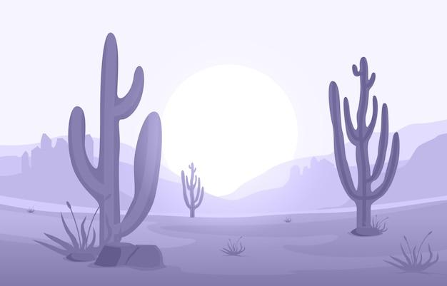 Dzień w rozległej pustyni ameryki zachodniej z kaktusową horyzont krajobrazową ilustracją