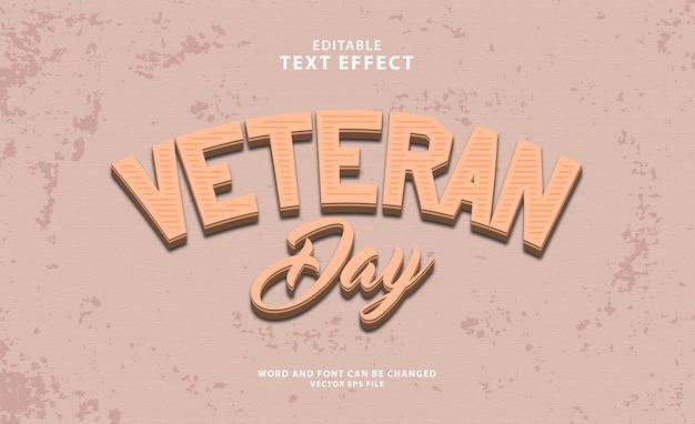 Dzień weterana 3d edytowalny efekt tekstowy