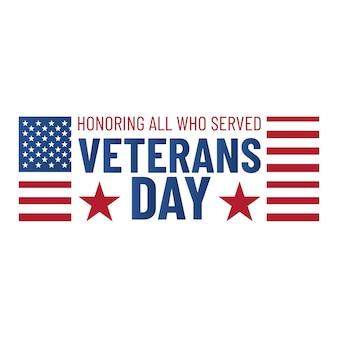 Dzień weterana. cześć wszystkim którzy służyli. godło weterana z amerykańską flagą