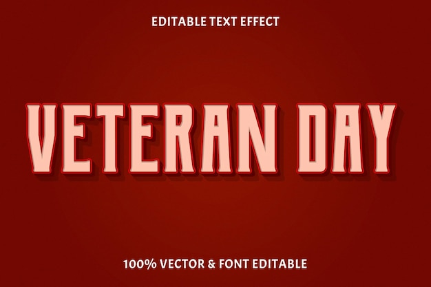 Dzień weterana w stylu vintage edytowalny efekt tekstowy