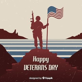 Dzień weterana z żołnierzem i flagą