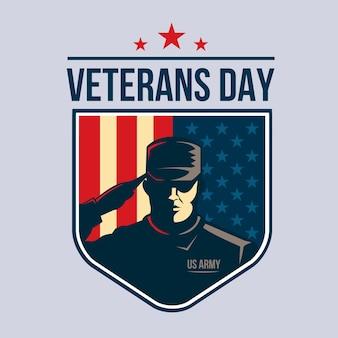 Dzień weteranów - tarcza z żołnierzem salutując przeciwko flagi usa.