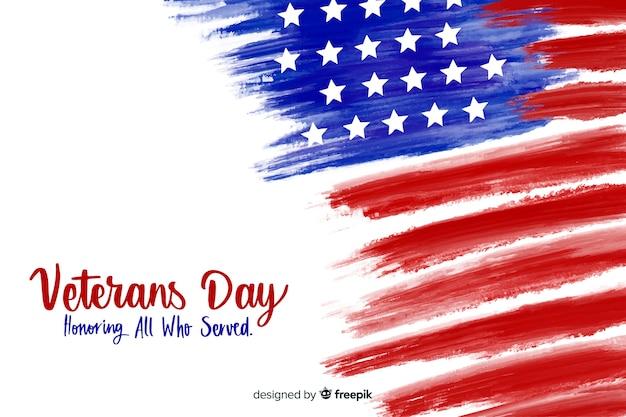Dzień weteranów z flagą akwarela