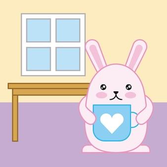 Dzień wielkanocny kawaii dom stół królik z filiżanką niebieskie serce