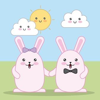 Dzień wielkanocny kawaii słodkie chmury słońce dwa króliki uśmiechnięte podjęte ręce