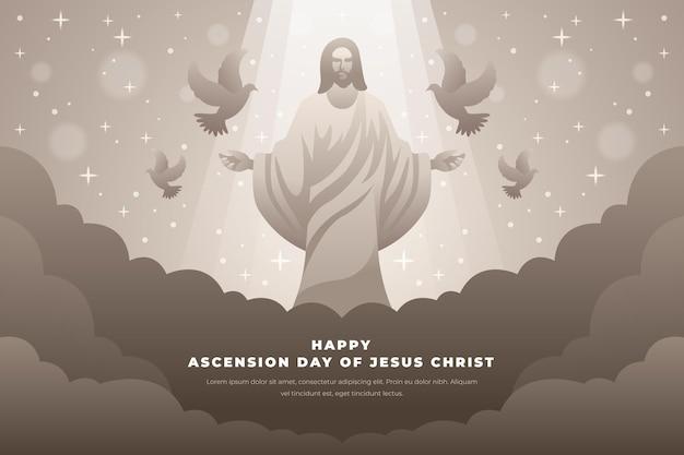 Dzień wniebowstąpienia z jezusem i gołębiami