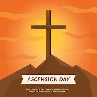 Dzień wniebowstąpienia z krzyżem o zachodzie słońca