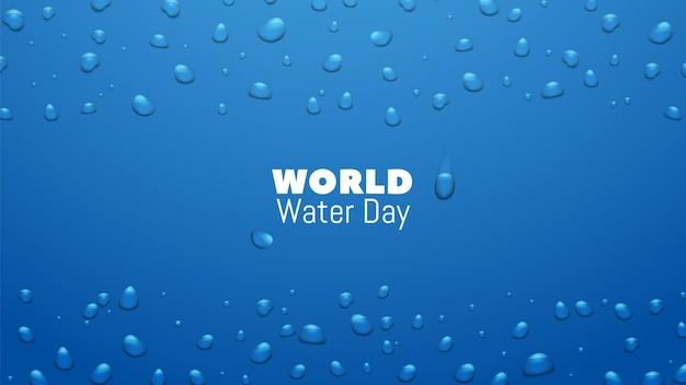 Dzień wody. zapisz światowy zasób i baner ziemi ochrony. realistyczne kropelki cieczy kapie tło wektor. ilustracja eko i oszczędzanie ekologii środowiska