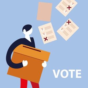 Dzień wyborów, człowiek z głosowaniem przy skrzynce i kartach do głosowania