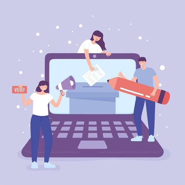 Dzień wyborów, głosowanie online ludzi z megafonem i ilustracji wektorowych ołówka