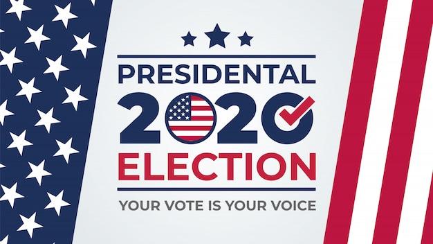 Dzień wyborów. głosuj na rok 2020 w usa, projekt banera. amerykańska debata o głosowaniu prezydenta 2020. plakat do głosowania w wyborach. polityczna kampania wyborcza