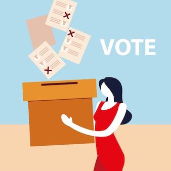 Dzień wyborów, kobieta trzyma karton z kartami do głosowania