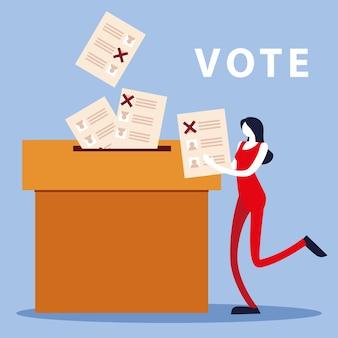Dzień wyborów, kobieta z kartą do głosowania i kartami do głosowania w tekturowym pudełku
