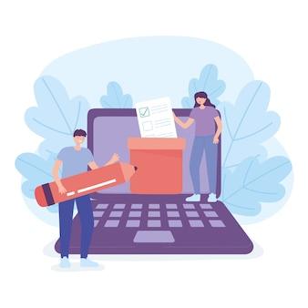 Dzień wyborów, kobieta z kartą do głosowania w polu mężczyzna z ołówkiem laptop głosowanie ilustracji wektorowych online