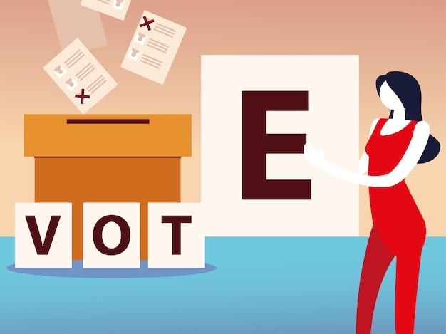 Dzień wyborów, kobieta ze słowem głosowania i pudełko z kartami do głosowania
