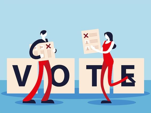 Dzień wyborów, ludzie z kartami do głosowania i napisami do głosowania