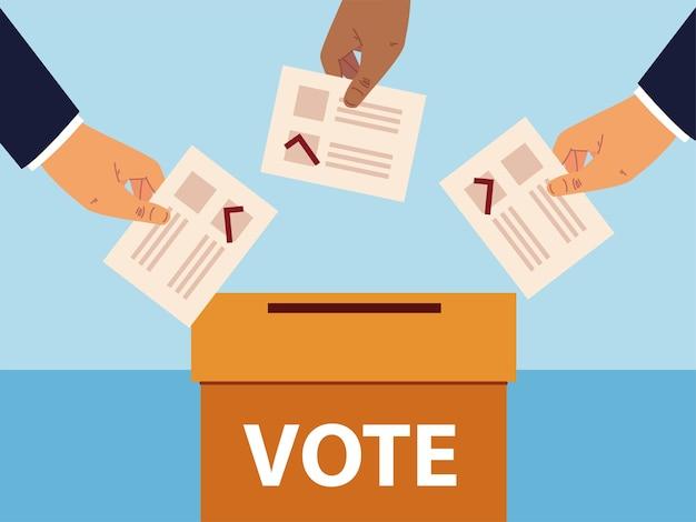 Dzień wyborów, ręce z kartami do głosowania i skrzynką do głosowania