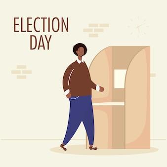 Dzień wyborów z afrykańskim mężczyzną w kabinie do głosowania