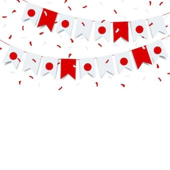 Dzień założenia japonii. girlanda z flagą japonii na białym tle.