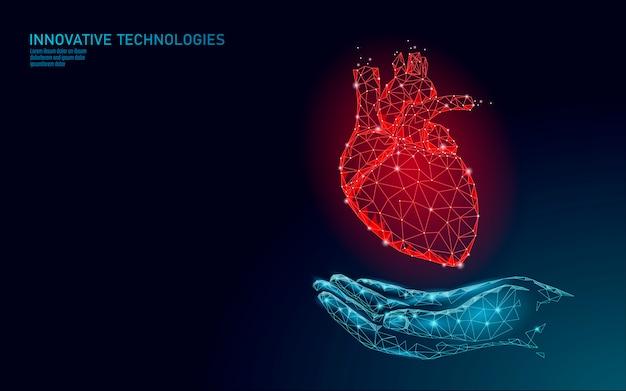 Dzień zdrowia serca low poly. globalny medycyna świadomości kardiologicznej anatomiczny test zdrowia krwi. ilustracja konsultacji lekarza online