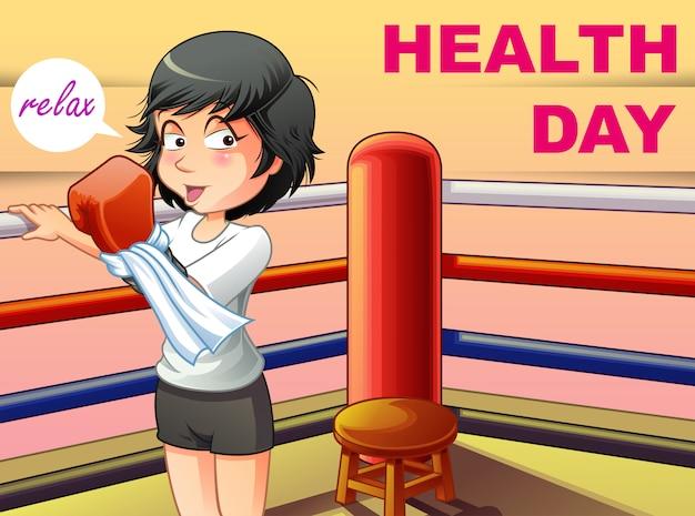 Dzień zdrowia w stylu kreskówki.